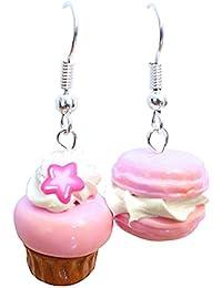 Les Bijoux Acidulés - Boucles d'oreilles macaron et cupcake roses