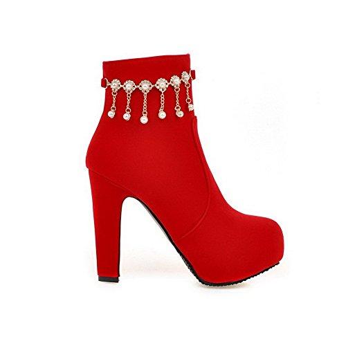 VogueZone009 Damen Hoher Absatz Mattglasbirne Niedrig-Spitze Rein Stiefel mit Juwelen, Schwarz, 40