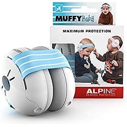 Alpine Baby Muffy Casque Anti-bruit Protection Auditive pour bébé et tout-petits - Casque antibruit jusqu'à 36 mois - Améliore le sommeil pendant les déplacements - réglable et confortable - Bleu