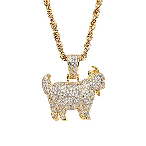J.Memi.Men Ziege Halskette Unisex Gold Überzogene Kette Hip Hop Kette Zirkonia Kristall Anhänger Für Männer Frauen Rap Punk Schmuck,Gold (Ziege Kostüme Für Erwachsene)