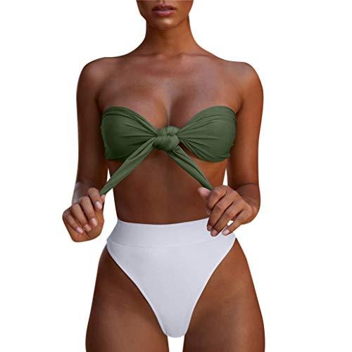 2c75a5463 Mymyguoe Mujer Bikinis Top de Tubo Dividida Traje de baño Bikini de una  Pieza Tops de