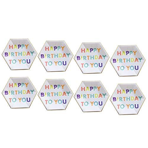 aloiness Geburtstag Pappteller 26CM Edel-Dekorativ Partygeschirr Stabiles Einweggeschirr für Grillfeste oder Geburtstage Splitterfreie Verwendung Kinder Basteln Pappteller 8 Stück -