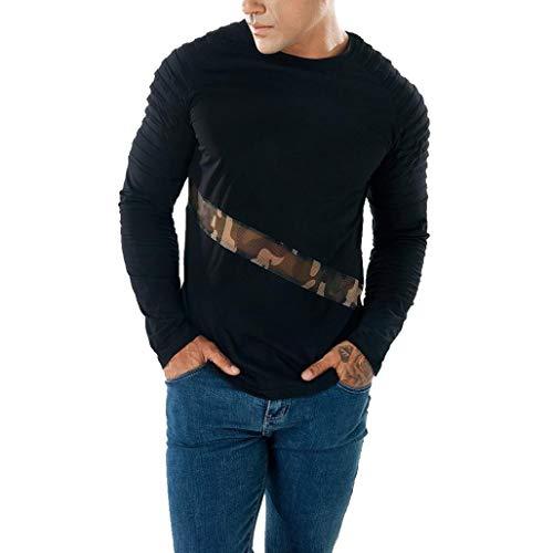 Herren Oberteile,TWBB Autumn Winter Mesh Patchwork Pollover Sweatshirt Casual Tops Lange Ärmel Männer O-Neck Hemd,S-2XL