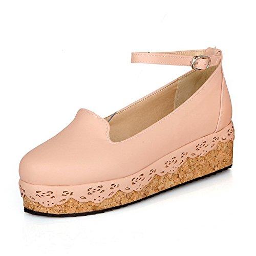 VogueZone009 Damen Rein Weiches Material Niedriger Absatz Schnalle Rund Zehe Pumps Schuhe Pink