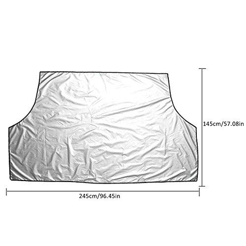 Yunt 2-in1 Auto Frostabdeckung Eisschutzfolie Autoabdeckung Faltbare Scheibenabdeckung Winterschutz Car Windshield Snow Cover mit Beutel für Winter Sommer (Silber, L: 245*145cm)