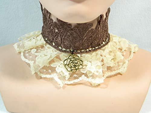 Halsband creme braun rose Steampunk Viktorianisch Barock Rokoko Halskrause Choker