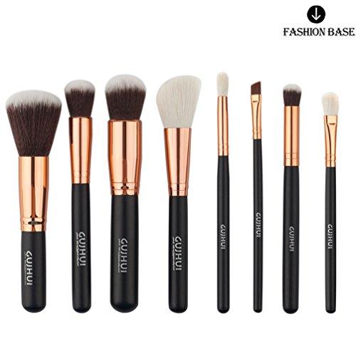 Fashion Base Ensemble de 8 pinceaux de maquillage professionnels pour fond de teint, blush, poudres