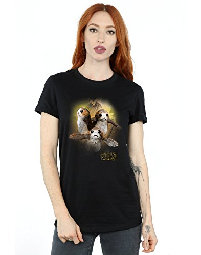 Star Wars Damen The Last Jedi Porgs Brushed Boyfriend Fit T-Shirt XXX-Large Schwarz (Entspannt Fit T-shirt Damen)
