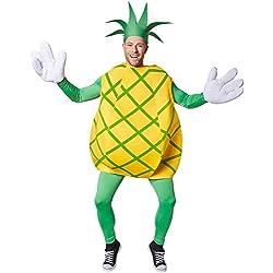 dressforfun Disfraz de piña unisexo | Parte superior sin mangas y con rayas verdes en cruz | Manoplas grandes y divertidas | Incl. Sombrero en forma de corona de hojas (L | No. 301632)