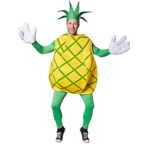 dressforfun Kostüm Ananas Ananaskostüm | Ärmelloses Oberteil mit gekreuzten, grünen Streifen | Große, lustige Handschuhe | Inkl. Kopfbedeckung in Form eines Blattschopfes (L | Nr. 301632) (Lustige Halloween Kostüme Für Arbeit)
