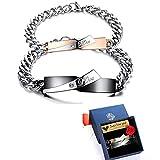 Bracciali per coppia, da uomo e donna, in acciaio inox, a catena, con incisione Love, zirconia cubica, oro rosa, nero/argento (lingua inglese)
