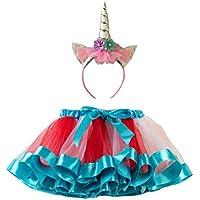 FENICAL Rainbow Tutu Skirt Baby Girl Costume Falda de Ballet Set Unicorn Headwear para Navidad Halloween Carneval Party - Talla L (Azul)