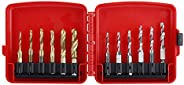 12pcs M3-M10 Hex Shank Titanium Plated HSS Screw Thread Metric & Inch Tap Drill Bits with Red