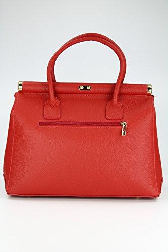 BELLI The Bag XL Leder Henkeltasche Handtasche Damen Ledertasche Umhängetasche - 34x25x16 cm (B x H x T) Rot