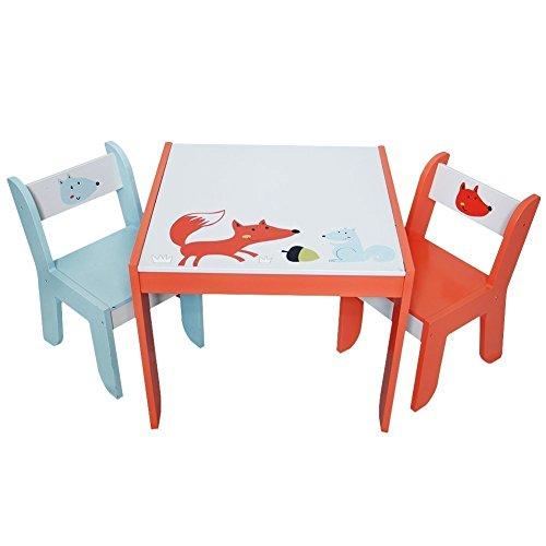 Labebe - Schöne Kinder Sitzgruppe Fuchs & Eichhörnchen - Mit einem Tisch und 2 Stühlen