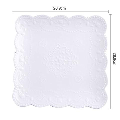Western food plate/ceramic steak/salad plate/fruit plate/[white],[western],dessert plate/ square-C