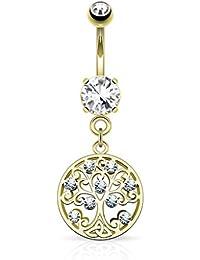 Kultpiercing – Piercing para ombligo Piercing Barbell Árbol de Vida (Plata, Oro, Oro Rosa)