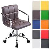 CLP Bürostuhl Lucy V2 mit gestepptem Kunstlederbezug I Drehstuhl mit Leichtlaufrollen I Höhenverstellbarer Schreibtischstuhl mit Armlehne I in Verschiedenen Farben erhältlich Braun