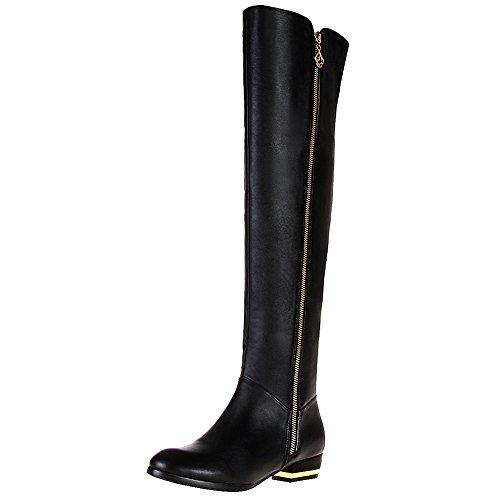 rismart Damen Reißverschluss Mode Over-Knee Leder Reiten Stiefel SN02749(Schwarz,EU42) (Over-knie Stiefel Sexy)