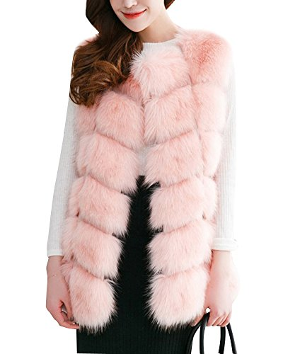 Damen Jacke Warm Weste Faux Pelz Lang Felljacke Stitching Oberteile Pink S