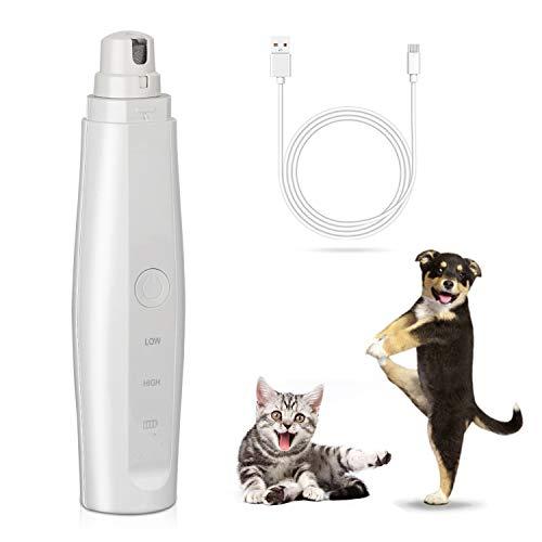 Zelbuck Haustier Krallenschleifer Elektrische Pet Nagelschleifer Krallenpflege für Kleintiere, Hunde, Katzen Nagelpflege Schleifer mit 3 Ports 2 Geschwindigkeiten USB-Anschluß und Geräuscharm - Weiß