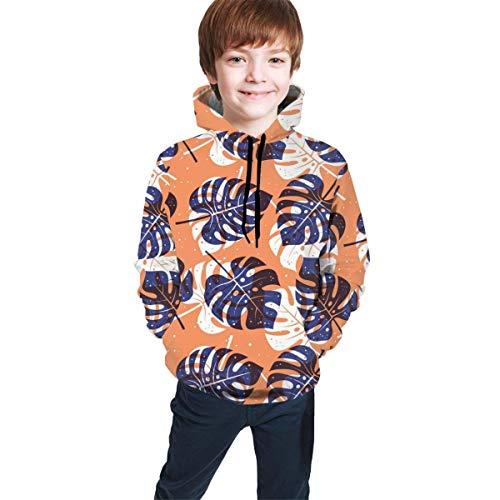 Hidend Kinder Kapuzenpullover Sweatshirt, Tropical Leaf Monstera Kids Funny Hooded Sweatshirts 3D Print Hoodies with Pockets