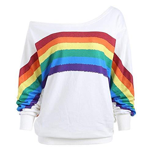 ESAILQ Frau Lose Langarm-Regenbogen-Druck-Pullover-Sweatshirt(M,Weiß)