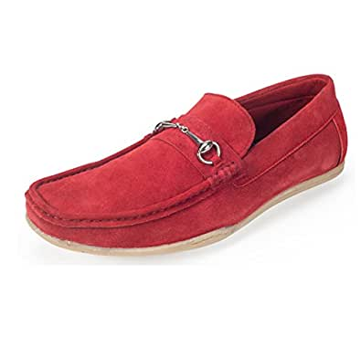 Lazard (from Khadims) Men's Red Leather Loafers - 6