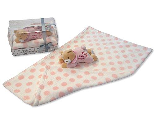 Bébés Rose doux 'Pretty bébé fille' Ours en peluche et couverture - Livré dans une boîte cadeau de
