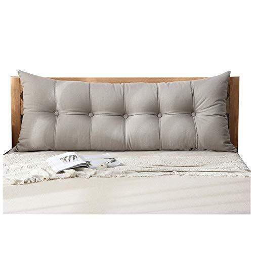 WENZHE Kopfteil Kissen Für Betten Bett Rückenkissen Rückenlehne Bettrückwand Flachs Weicher Fall Schlafzimmer Sofa Erkerfenster Rückenlehne Waschbar, 8 Farben (Farbe : A, größe : 180x20x60cm)