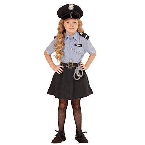 Amakando Polizeikostüm Mädchen Kinder Polizistin Kostüm XS 116 cm Polizistinkostüm Uniform Kinderkostüm Politesse Polizistinnenkostüm Polizei - Mädchen Polizei Uniform Kostüm