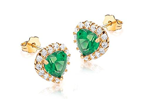 Carissima Gold 9 ct Or jaune avec Green and White Cubic Zirconia Heart Cluster Stud Earrings