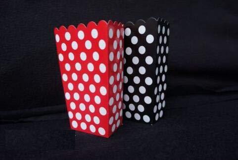 Mickey Maus 16 Polka Dot Behandeln Goody Favor Popcorn Boxen Tasche Geburtstag Schwarz/Rot