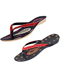 Indistar Women Comfortable Flip Flop House Slipper And Sandal-Black/Red/Black+Red- Pack Of 2 Pairs