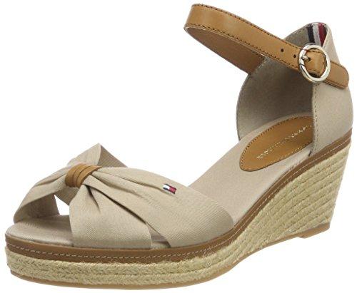 Tommy Hilfiger Damen Iconic ELBA Geschlossene Sandalen, Grau (Cobblestone 068), 38 EU - Damen Schuhe Stoff Sandalen Keil