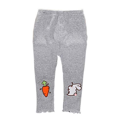 Pantalon Bébé Filles - Sunenjoy Legging Sport Rayure Extensible Skinny Slim Tregging Cartoon Lapin Carotte Casual Mignon Pants Trousers pour Enfants 0-4 Ans (12-18 Mois, Gris)