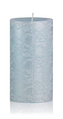 Trendkerzen Kerzen Rustik Stumpen in Spitzenoptik Eisblau 130 x 68 mm 4 Stück