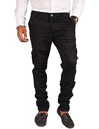 Clivemont Men's Jet Black formal Slim Fit Trouser CLJB1