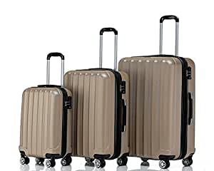 BEIBYE TSA-Schloß 2080 Zwillingsrollen 3 TLG. Reisekofferset Koffer Kofferset Trolley Trolleys Hartschale (Champagner)