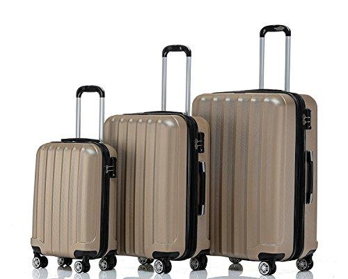 BEIBYE TSA-Schloß 2080 Hangepäck Zwillingsrollen neu Reisekoffer Koffer Trolley Hartschale Set-XL-L-M(Boardcase) in 12 Farben (Champagner, 3tlg. Kofferset)