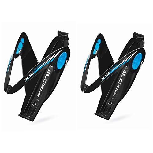 1 Paar Flaschenhalter Mod. X5 Gelhalter für Fahrrad Race/MTB/Gravel/Trekking Bike Gel-Einlage Winddicht, ideal für Off-Road. Glänzendes Finish Farbe Schwarz/Blau 100{52e38c936eed9c98c0f9b212bdba73f79c0b47b04ae20f4353b7dd4e6b7e8c36} Made in Italy (RO_2X5_BLK/Blue)