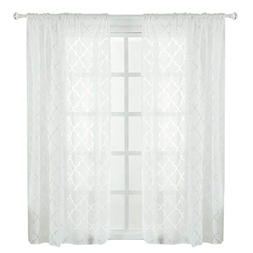 Boquite Vorhang Durable Polyester Fenster Sonnenschein Schatten Blackout Schlafzimmer Wohnzimmer(Weiß)