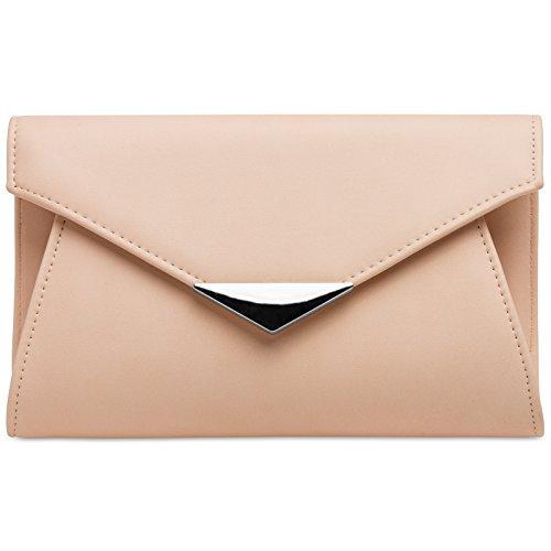 Caspar ta363 donna pochette a busta grande xl con catena, colore:rosa;dimensioni:taglia unica