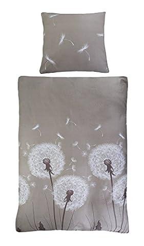 Satin-Bettwäsche Bettbezug Bettwäschegarnitur LAURA 1 | 2-teilig | 135 x 200 cm | Baumwolle | Taupe | Pusteblumen