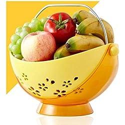 BAIF Hamac à Fruits pivotant en ABS sûr, avec poignée en Acier Inoxydable 304, Panier de Rangement de vidange pour Panier de Fruits de Grande capacité (Couleur: Jaune)