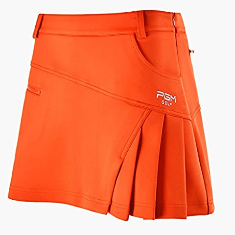 Damen Skort Golf Rock Sport Rock Integrierte Shorts Sport-Hosenrock, Orange, XS