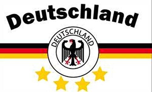Deutschland 4 Sterne weiß - schwarz-rot-gold FAN 1,50 x 0,90m Flagge Fahnen mit 2 Ösen