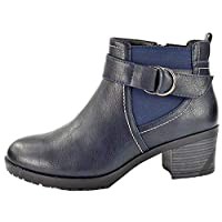 Yinka Shoes Ladies Faux Leather PU Snake Print Chelsea Mid Block Heel Elastic Stretch Buckle Biker Winter Western Cowboy Ankle Boots Size 4-8