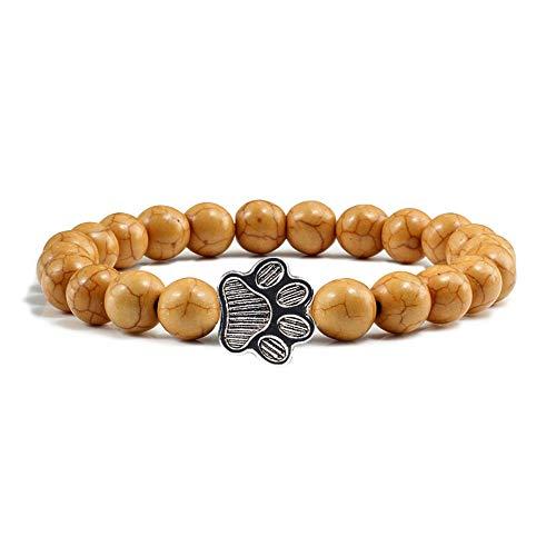 THTHT Lava Rock Natürliche 8Mm SteinPerle Yoga Charme Armband Hund Hand Pfote Elastische Seil Perlen Armband Mode Männer Frauen Jewelry20Cm Kaffee (Armband-charme-hund)