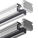 Garduna 150cm eckige Gardinenschiene | silber | Aluminium | vorgebohrt | Schleuderschiene